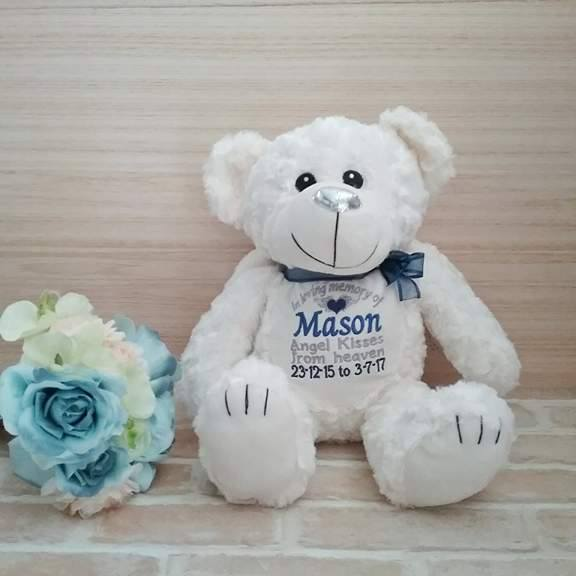 angel bear, personalised funeral bear, personalised angel bear, embroidered angel bear, angel bear Australia