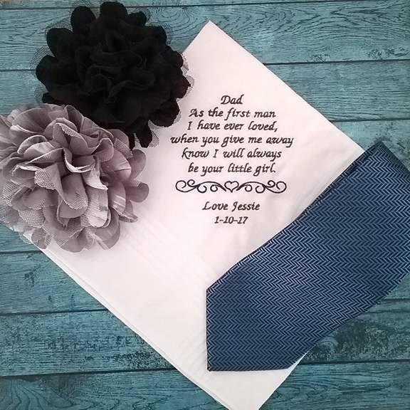 mens wedding handkerchief, personalised handkerchief, wedding hanky, father of the bride gift