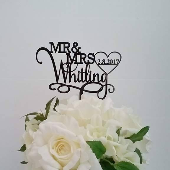 Personalised Wedding Cake Toppers, cake topper designs. Mr & Mrs Toppers,  'Mr & Mrs' wooden cake topper
