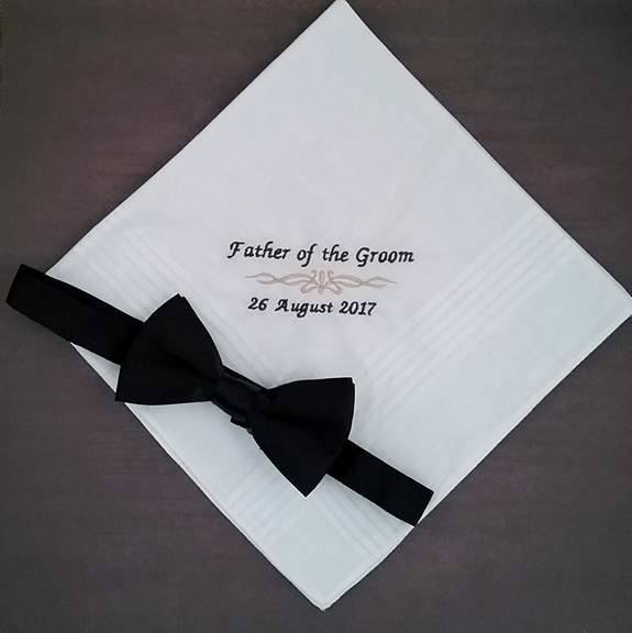 wedding handkerchief Australia, personalised handkerchief father of the bride, wedding hanky father of the groom, personalised hankies australia, embroidered hanky wedding