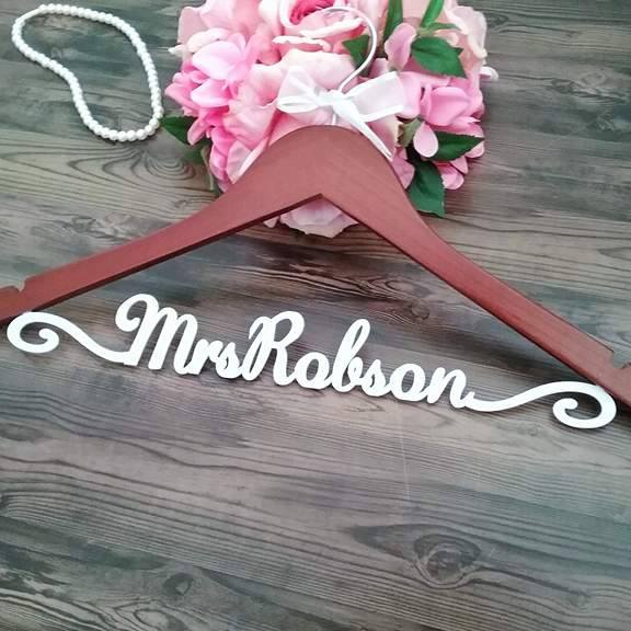 designer hanger for wedding dress, Glamour name hanger for wedding dress, Mrs Wedding Hangers