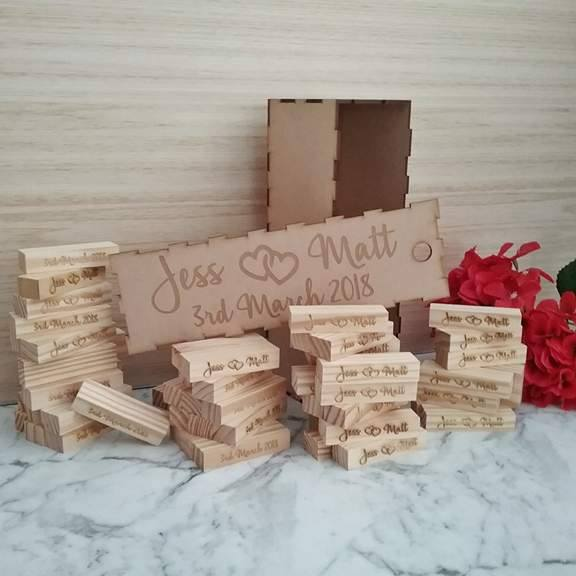 signing jenga, bridal bling Australia, wedding guest book, guest books alternative, block tower