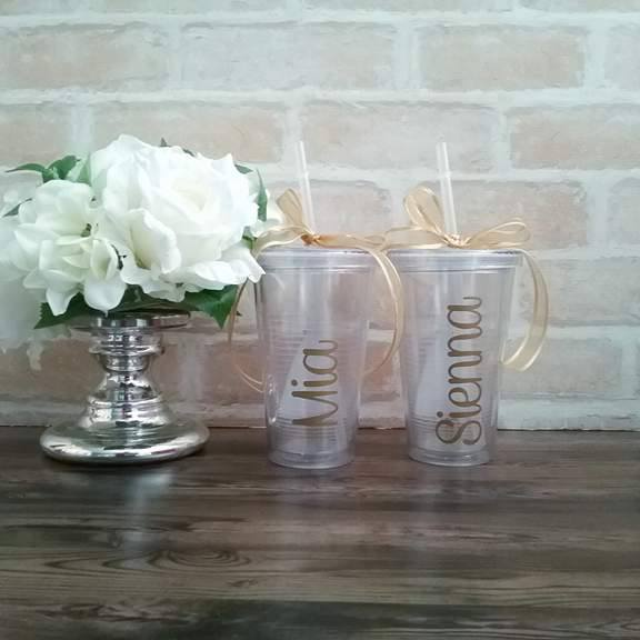 Wedding tumblers for bridesmaids, bridesmaid gifts, wedding cups for brides, personalised cups with straws for bridesmaids
