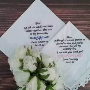 wedding handkerchief, personalised handkerchief, embroidered handkerchief, wedding gift parents