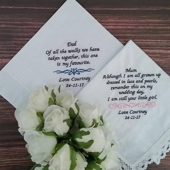 wedding handkerchief, personalised handkerchief, embroidered handkerchief, wedding gift parents