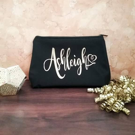customised makeup bag, unique makeup bags, personalised bag for makeup, black makeup bags, custom makeup bag Australia
