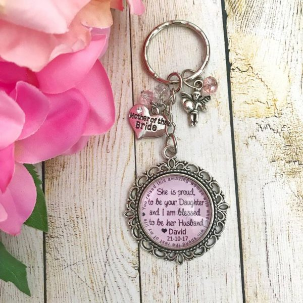 personalised key ring for mother, wedding gift for mother of the bride, mother of the bride gift, personalised keyrings