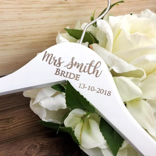 modern wedding hanger, personalised coat hanger for bride, bridesmaid coat hangers Australia