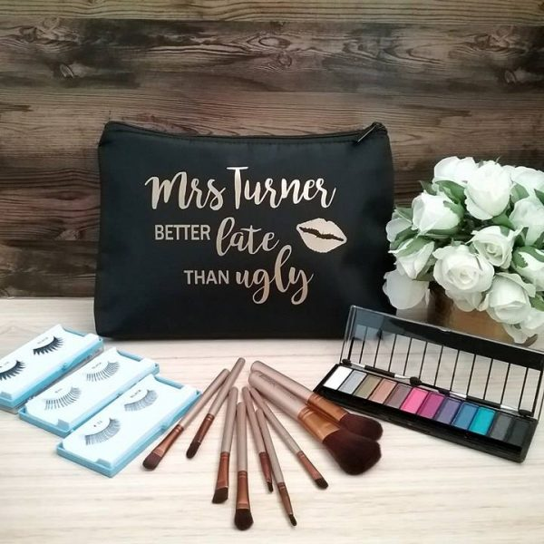 personalised make up bags, all things bridal, bride too;try bag, birthday gift for sister