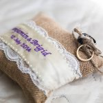 burlap ring pillow, personalised ring pillow Australia, ring pillow for country wedding, rustic ring cushion