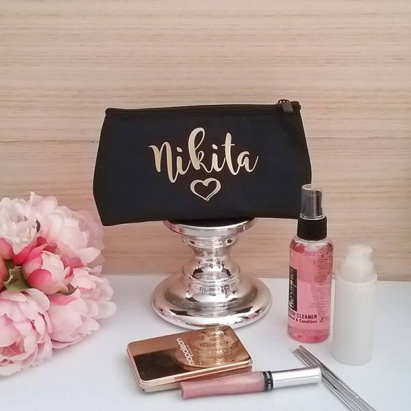 personalised make up bag, personalised cosmetic bag australia, brides gift, personalised gifts australia