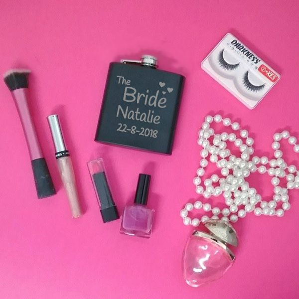 gift for bride, bridal party presents, personalised flasks, coloured hip flasks