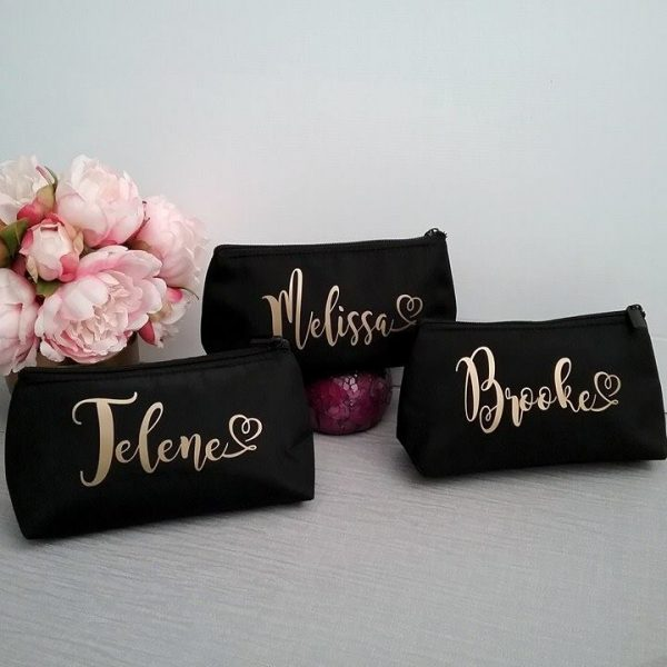 makeup bags australia, all things bridal australia, personalised gifts, personalised bridesmaid makeup bags