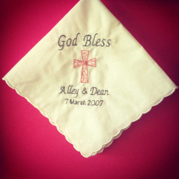 God Bless Handkerchief, embroider handkerchief, Baptism gift, Religious wedding Gift, Christening gift, Confirmation gift, Gift for Religious occasion