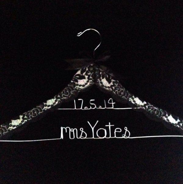 Lace Name and Date Hanger, rustic wedding hanger, vintage bridal coat hanger, customised wedding hangers