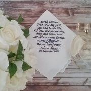 own wording handkerchief, custom wording hanky, personalised wedding hanky, personalised handkerchief Australia