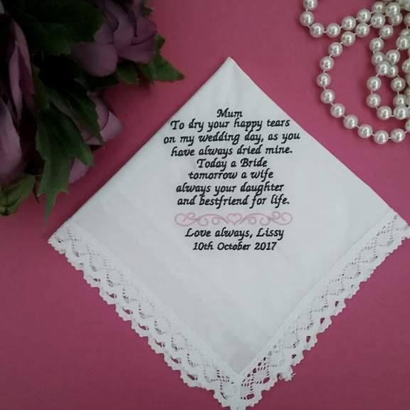 personalised handkerchief, wedding hankies australia, ladies handkerchief, lace handkerchiefs australia