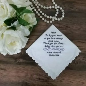 embroidered handkerchiefs for mother of the bride, personalised wedding hanky, wedding hankies Australia, mother of the bride gift,