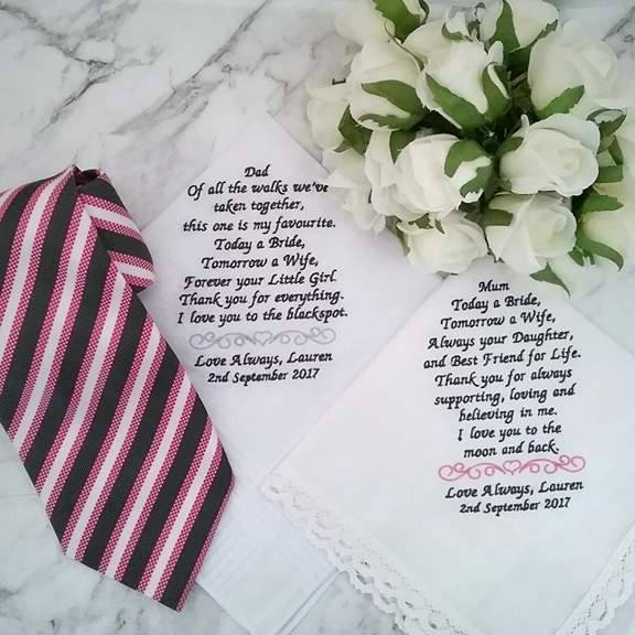 embroidered handkerchiefs, handkerchief for mother of the bride, embroidered hanky wedding, wedding gifts for parents, wedding handkerchief for parents,