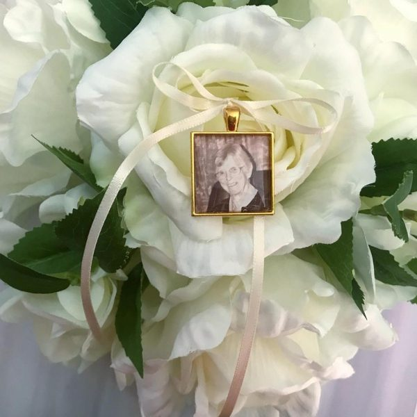 Gold memory charm, memorial charm gold, gold photo charm, gold in memory of charm, gold wedding bouquet charm