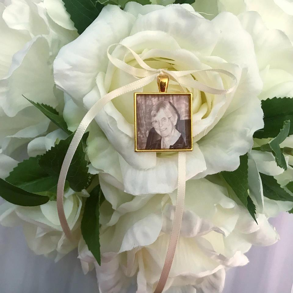 Square Gold Memory Charm Wedding Bouquet Picture