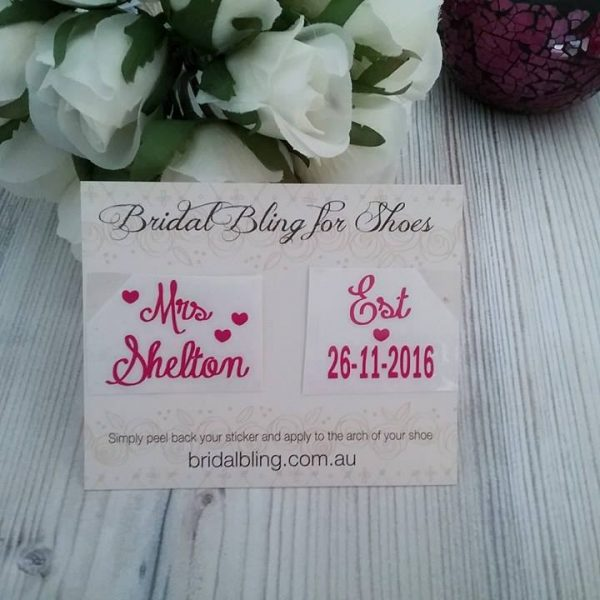mrs wedding shoe stickers, shoe decals for brides shoes, personalised stickers for brides shoes