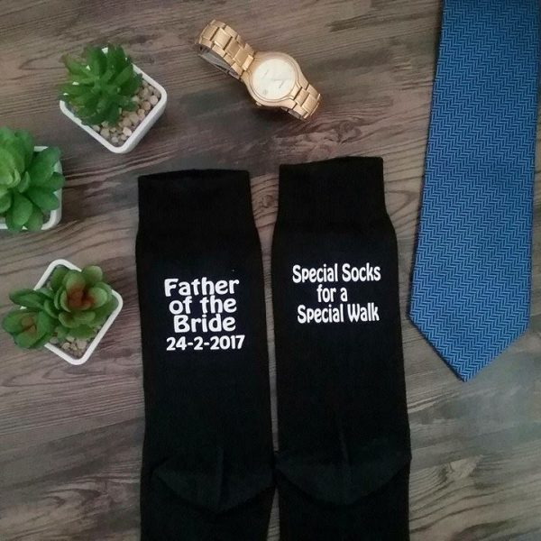 personalised wedding socks, personalised socks australia, Father of the bride socks, father of the bride gift