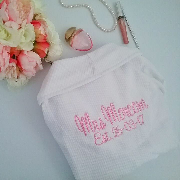 personalised wedding robes, bridesmaid and bride robes, Bride gift,  personalised gift for bride