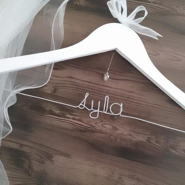 wedding dress hanger, personalised wooden hanger, wire word hanger, bride hangers