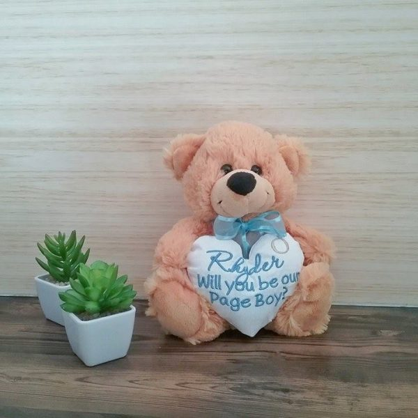 be my pageboy gift, be my flower girl gift, wedding gifts ideas for children, personalised ring bearer gift, personalised  teddy bears Australia
