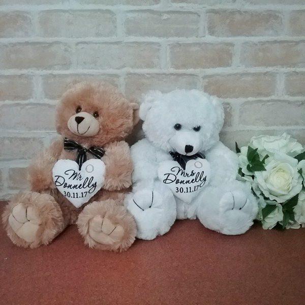bride teddy bear, Mrs Teddy Bear, personalised wedding teddy bear, personalised Bride wedding bear