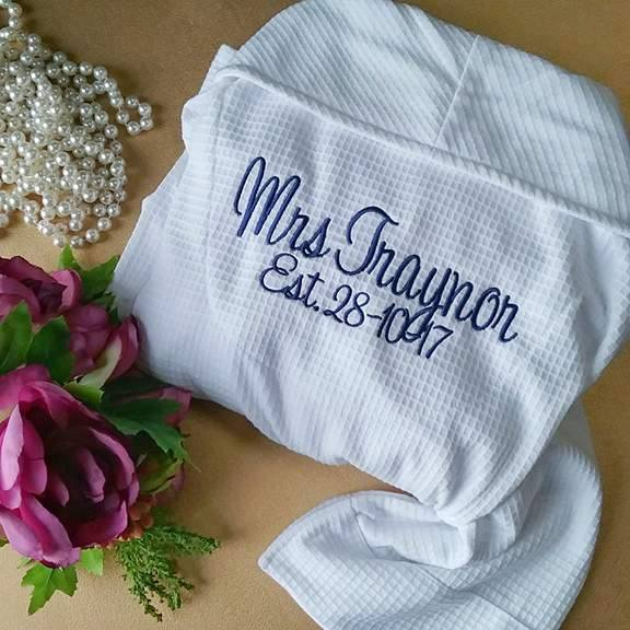 personalised brides gifts Australia, wedding robe for bride, wedding getting ready robes, embroidered robes