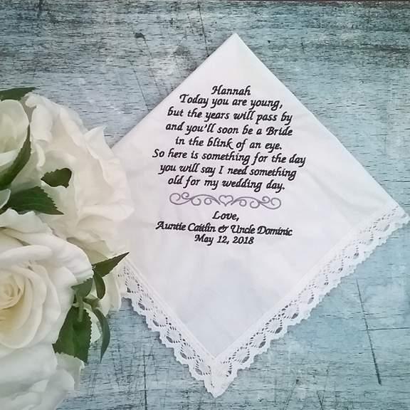 Wedding hankie for flower girl, hanky flwoergril, embroidered wedding handkerchief, personalised wedding hanky Australia