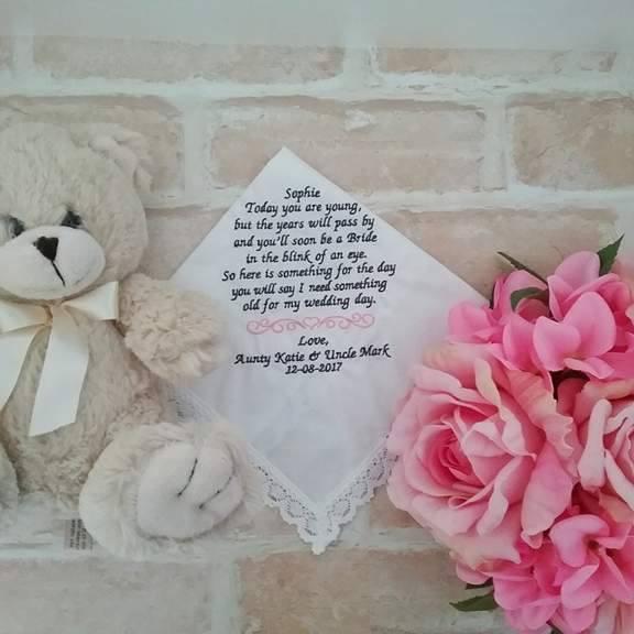 wedding personalised gifts, personalised flower girl gift, wedding gifts, embroidered wedding handkerchief Australia