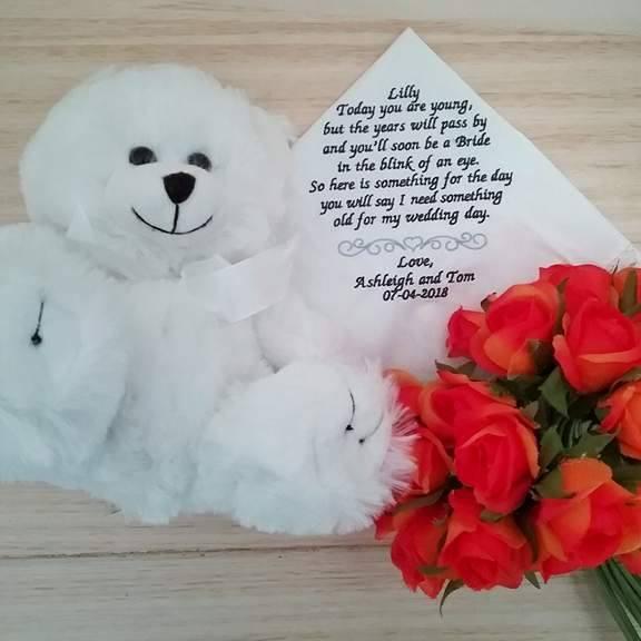 personalised wedding handkerchief, customised handkerchief, flower girl gift, personalised handkerchief australia