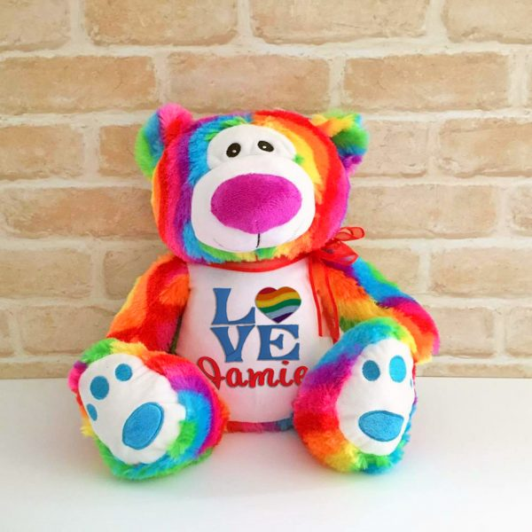 love is love gift, gay pride, gift of lesbian, personalised rainbow bear, Gay Gift, Lesbian Wedding Gift, Gay Wedding Gift Australia