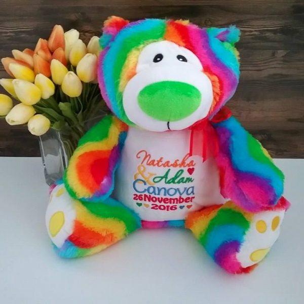 rainbow bear, personalised teddy bear for gay wedding, colourful rainbow teddy bear personalised, personalised wedding teddy bear for LGBT