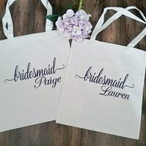 personalised bags for bridesmaids, tote bags for bridesmaids, personalised wedding gift for bridesmaids