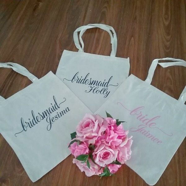 wedding party gifts for bridesmaids, wedding party tote bags, bridesmaid personalised tote bags, tote bags for bridesmaids gifts, Wedding bags Australia