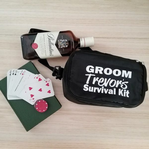 personalised esky bags, groom emergency cool bag, funny groom survival kit, groom and groomsmen gift idea, personalised cooler bag, mens wedding bags