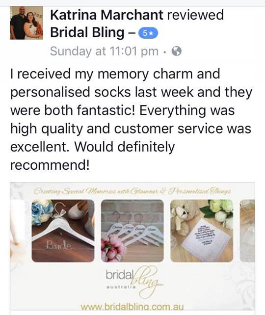 Katrina Marchant 5 star review for bridal bling Australia