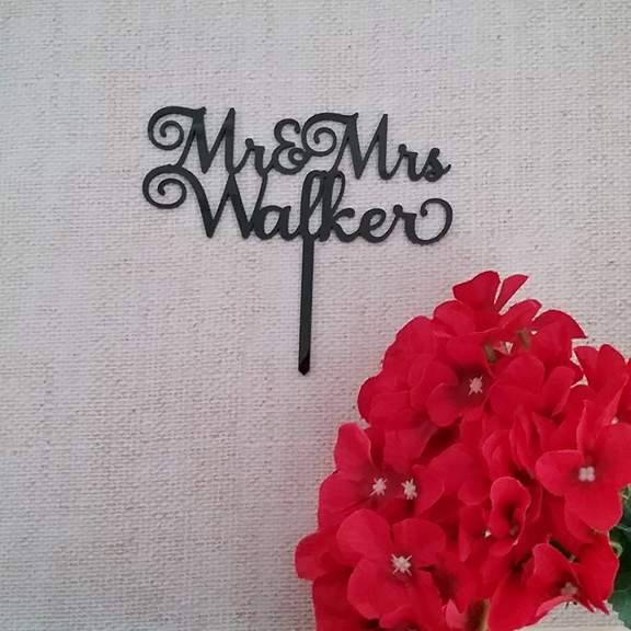 Fancy mr & mrs cake topper, black mr & mrs cake topper, acrylic wedding cake toppers, laser cut wedding cake toppers, custom laser cut wedding cake toppers