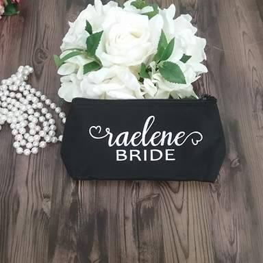 makeup bags for bridesmaids, bridesmaid cosmetic bag, bride makeup bag, personalised bridesmaids bags,
