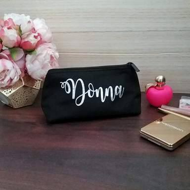 black makeup bags, personalised makeup bag, personalised gifts Australia, personalised makeup travel bag, custom makeup bag for purse, birthday gift for her