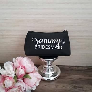 bridesmaid gift, gifts for bridesmaids, bridesmaid cosmetic bags, custom wedding bags Australia