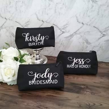 personalised makeup bags bridesmaids, personalised wedding bags Australia, custom makeup bag