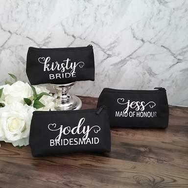 personalised makeup bags bridesmaids, personalised wedding bags Australia, custom makeup bag