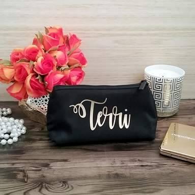 personalised makeup purse, best makeup bag, small makeup bag, custom cosmetic bag, Birthday gift for women