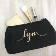 personalised makeup bag, black makeup bag, personalised gift for makeup lover, makeup bag personalised with name, makeup purse personalised Australia