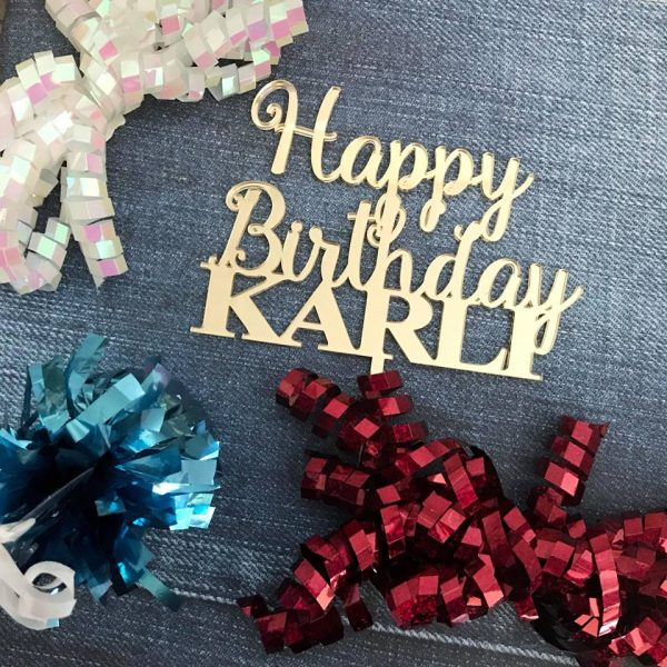 Gold Birthday Cake topper, Custom happy birthday Name cake topper, personalised birthday cake topper, Custom Name Cake Topper, Personalised Custom Made Acrylic & Wooden Cake Toppers by Bridal Bling Australia